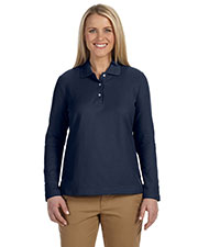 Devon & Jones Classic D110W Women Pima Pique Long-Sleeve Polo at GotApparel