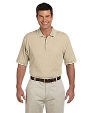 Devon & Jones Blue D113 Men Pima Pique Short-Sleeve Tipped Polo at GotApparel