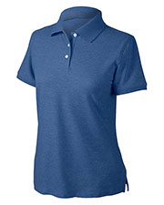 Devon & Jones Blue D153WGR Women Recycled Pima Melange Pique Polo at GotApparel