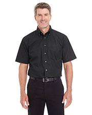 Devon & Jones Classic D620S Men Crown Collection  Solid Broadcloth Short-Sleeve Shirt at GotApparel