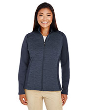 Devon & Jones Classic DG796W Women Newbury Colorblock Melange Fleece Full-Zip at GotApparel