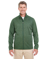 Devon & Jones Classic DG796 Men Newbury Colorblock Melange Fleece Full-Zip at GotApparel