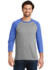 District Made DM136 Men Perfect Tri 3/4-Sleeve Raglan at GotApparel