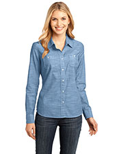District Made DM4800 Women Long-Sleeve Washed Woven Shirt at GotApparel