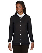 Devon & Jones Classic DP181W Women Perfect Fit  Ribbon Cardigan at GotApparel