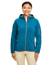 Devon & Jones DP700W Ladies 8.9 oz Perfect Fit Mélange Velvet Fleece Hooded Full-Zip at GotApparel