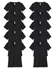 Custom Embroidered Econscious EC3052 Women 4.4 Oz. 100% Organic Cotton Short-Sleeve V-Neck T-Shirt 10-Pack at GotApparel