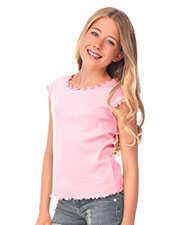 Big Girls 7-16 Lettuce Edge Scoop Neck Cap Sleeve Top at GotApparel