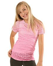 Big Girls 7-16 BurnOut Polka Dot Sublimation Crew Neck Short Sleeve at GotApparel
