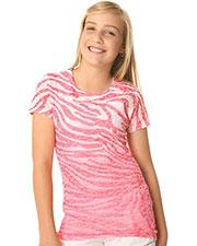 Big Girls 7-16 BurnOut Zebra Sublimation Crew Neck Short Sleeve at GotApparel