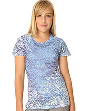 Big Girls 7-16 BurnOut Hibiscus Sublimation Crew Neck Short Sleeve at GotApparel