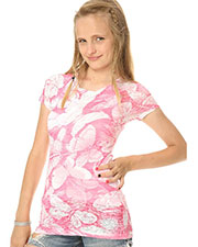 Big Girls 7-16 BurnOut Butterfly Sublimation Crew Neck Short Sleeve at GotApparel