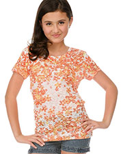 Big Girls 7-16 BurnOut Dainty Daisy Sublimation Crew Neck Short Sleeve at GotApparel