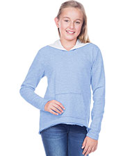 Girls 7-16 French Terry Raw Edge High-Low Long Sleeve Lined Hoodie at GotApparel
