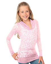 Big Girls 7-16 Burnout Raw Edge Long Sleeve Pullover Hoodie at GotApparel