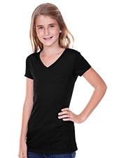 Big Girls 7-16  Sheer Jersey V Neck Penny Pocket Short Sleeve at GotApparel