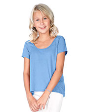 Big Girls 7-16 Jersey Scoop Neck High Low Short Sleeve at GotApparel