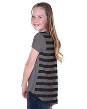 Big Girls 7-16 Striped Jersey Contrast Back High Low Short Sleeve at GotApparel
