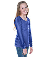 Girls 7-16 Striped Jersey Multi Contrast Long Sleeve at GotApparel