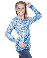 Girls 7-16  Static Jersey Print Cntrst Raw Edge Long Sleeve w. Pouch at GotApparel