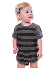 Unisex Infants Striped Jersey Crew Neck Raglan Short Sleeve Bodysuit at GotApparel