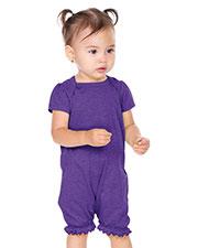 Infants Sheer Jersey Ruffle Hem Lap Shoulder Puff Sleeve Romper at GotApparel