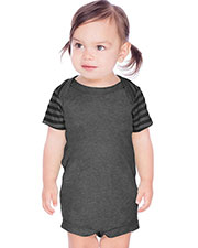 Infants Contrast Mini Striped Lap Shoulder Short Sleeve Bodysuit at GotApparel