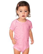 Unisex Infants Slub Raw Edge Lap Shoulder Short Sleeve Onesie at GotApparel