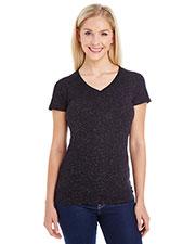 J America JA8136 Women Glitter V-Neck T-Shirt at GotApparel