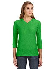 J America JA8153 Women 3/4-Sleeve Hooded Slub T-Shirt at GotApparel