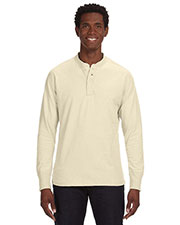 J America JA8244 Men Vintage Brushed Jersey Henley at GotApparel