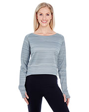 J America JA8663 Women Odyssey Striped Poly Fleece Hi-Lo Crew at GotApparel