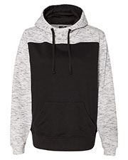 J America JA8676 Men Melange Color Blocked Hooded Sweatshirt at GotApparel