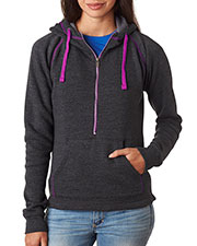 J America J8876 Women 1/2-Zip Tri-Blend Hooded Fleece at GotApparel