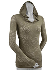 Junior Leopard Burnout Raw Edge Long Sleeve Pullover Hoodie at GotApparel