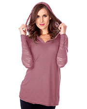 Junior Sheer Jersey Two-Fer Contrast Burnout Long Sleeve Hoodie at GotApparel