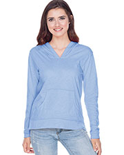 Juniors Sheer Jersey Raw Edge High Low Long Sleeve Hoodie with Pouch at GotApparel