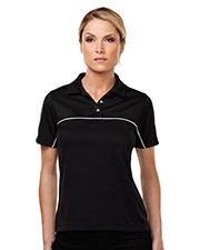 Tmr KL908 Women Double Clutch Color Blocking Short-Sleeve Polo Shirt at GotApparel