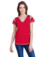 LAT LA3533 Ladies Gameday Lace Up T-Shirt at GotApparel