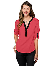 LILAC BLOOM LB758 Women Amelia 3/4 Sleeve Woven Tunic With Y-Neck at GotApparel