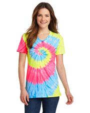 Port & Company LPC147V Women Tie-Dye V-Neck Tee at GotApparel