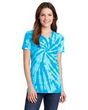 Port & Company LPC147V Women Tie-Dye V-Neck Tee at GotApparel