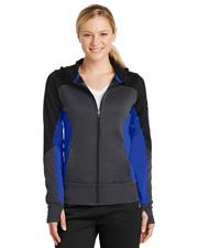 Sport-Tek® LST245 Women   Tech Fleece Colorblock Full-Zip Hooded Jacket at GotApparel