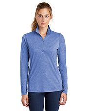 Sport-Tek LST407 Ladies 4.4 oz PosiCharge Tri-Blend Wicking 1/4-Zip Pullover at GotApparel