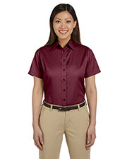 Harriton M500SW Women Easy Blend Short-Sleeve Twill Shirt With Stain-Release at GotApparel