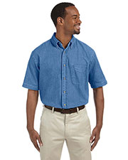 Harriton M550S Men 6.5 Oz. Short-Sleeve Denim Shirt at GotApparel