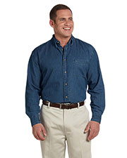 Harriton M550T Men Tall Long-Sleeve Denim Shirt at GotApparel