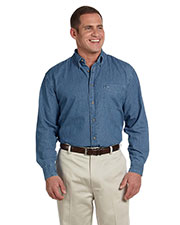 Harriton M550T Men Tall Long-Sleeve Denim Shirt at GotApparel