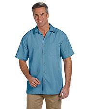 Harriton M560 Men Barbados Textured Camp Shirt at GotApparel