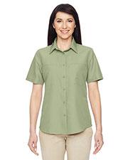 Harriton M580W Women Key West Short-Sleeve Performance Staff Shirt at GotApparel